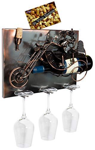 BRUBAKER - Porte-bouteille de vin & 3 Porte-verres - Couple à moto - Art mural 3D / Métal - Carte de vœux incluse - Idée cadeau originale - Objet décoratif