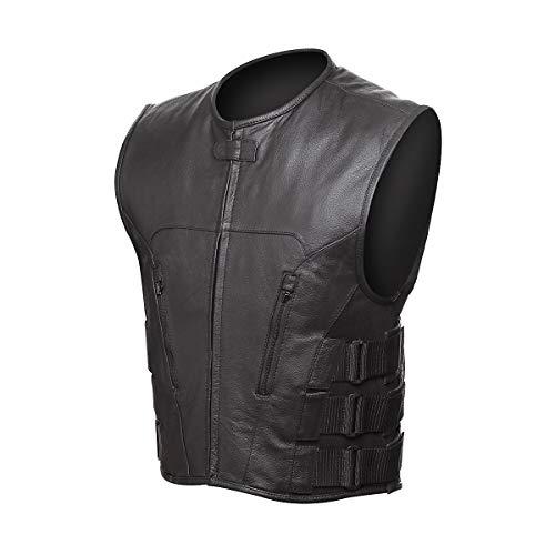 STREET & STEEL Assault Leather Motorcycle Vest - 2XL, Black
