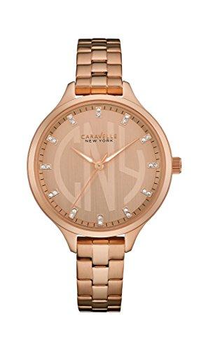 Caravelle New York Oro Slimline–Reloj de Cuarzo para Mujer con Oro Rosa Esfera analógica Pantalla y Pulsera de Oro Rosa 44l207