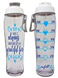 50 Strong BPA Free Reusable Water Bottle with Time Marker - Motivational Fitness Bottles - Hours Marked - Drink More Water Daily - Tracker Helps You Drink Water All Day -Made in USA (Grateful)