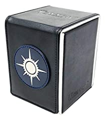 Alcove Flip Box featuring the Black & White Orzhov design Holds up to 100 standard size gaming cards double sleeved in Ultra PRO Deck Protector sleeves Strong magnetic closure featuring multiple magnets to hold the lid securely shut Lid can be detach...
