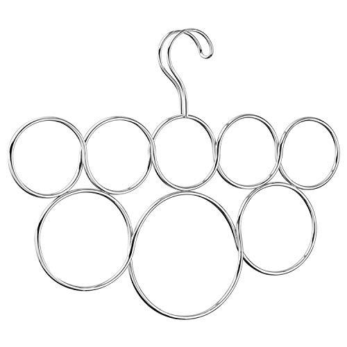 iDesign Perchas ahorra espacio, organizador de pañuelos antiarrugas de metal, colgador de accesorios con 8 anillos para chales, corbatas o cinturones, plateado