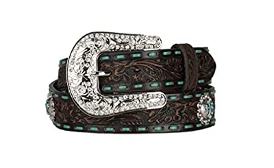 Nocona Belt Co. Women's Embellished Turquoise Cross Concho Brown Medium