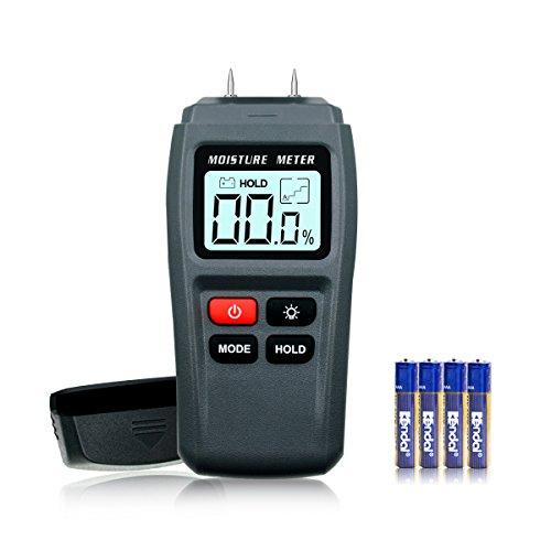 ERAY Feuchtigkeitsmessgerät für Holz mit Hintergrundbeleuchtung Funktion und Batterie, ± 0,5% Genauigkeit und 1%~99% Holz