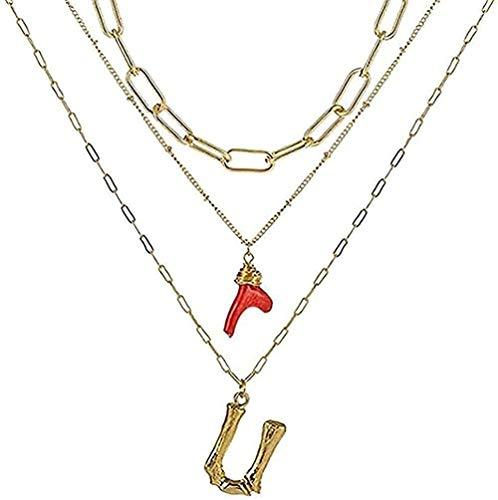 Collar, collar con inicial, letras de bambú doradas, nombre inicial, collares, cadena de eslabones con colgante de coral rojo para mujer, regalo de cumpleaños