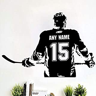 Wall Stickers, Wall Tattoos, Wall Posters, Wall Decals, Art Custom Large Ice Hockey Player Choose Jersey Name and Numbers Vinyl Decal Decor 91x57 cm