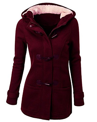 ZhuiKun Damen Mantel Jacke Trenchcoat Outwear Mit Kapuze (L, Weinrot)