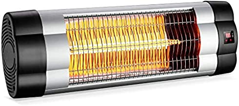 PATIOBOSS Electric Patio Heater, Wall-Mounted Outdoor Heater W/ LCD Display, Infrared Heater for Garage Backyard, 1500W Adjustable Thermostat, 3 Seconds Instant Warm, Waterproof IP34 Rated