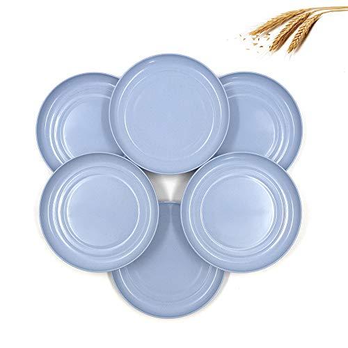 6 Piezas 15cm Mini Platos de Paja de Trigo Livianas, Saludables y Irrompibles Platos Infantiles de Cena , para ensalada pastel postres, para bebés, niños