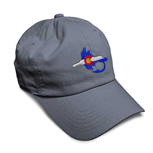 Speedy Pros Soft Baseball Cap Colorado Flag Fishing Fly Embroidery Cotton Dad Hats for Men & Women Flat Solid Buckle Dark Grey Design Only