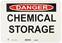 "Master Lock S10550 10"" Width x 7"" Height Polypropylene, Black and Red on White Safety Sign, Header ""Danger"", Legend ""Chemical Storage"""