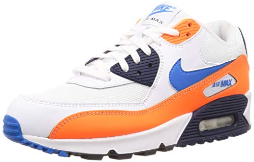 Nike Herren Air Max 90 Essential Leichtathletikschuhe, Mehrfarbig (White/Photo Blue/Total Orange 104), 44.5 EU