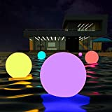 LOFTEK LED Large Floating Pool Light, 24-inch 16 Color Garden Decor Ball with Remote Control, 4-Speed Modes & 5-Levels Dims, Cordless & Chargeable, Waterproof Night Light & Exhibition Decor, 1-Pack