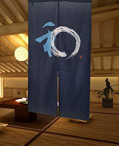 LIGICKY Japanische Gardinen Noren Lang Vorhänge Türvorhang Tapisseri für die Heimtextilien Raumteiler, Blau 85 x 150 cm (Klassisches Glücksmuster)