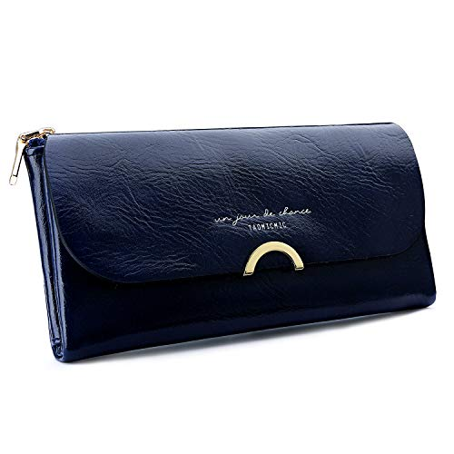 S ZONE Ladies Purse PU Leather Wallet for Women with Multiple Card Slots and Card Holders Phone Zipper Pocket Zipper Coin Purse