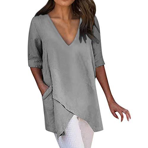 Oksea Damen 3/4 Arm V Ausschnitt Oberteile Damen Chiffon Bluse Tunika Blusen V Ausschnitt Leicht Asymmetrisch Shirt Damen Sommer T Shirt Lässige Bluse Tops Halbarm Oberteile