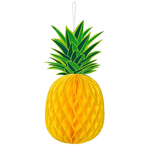 Boland 52492 Honeycomb Decoration Pineapple Size 30 x 14 cm Paper Green / Yellow Party Summer Beach Garden Decoration