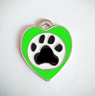 Polykor Useful Heart-Shaped Footprints Dog Tag Pet Pendant Color Paint Tag(Green)