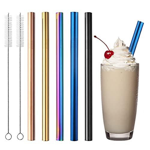 Återanvändbara metallsugrör, 5 st Boba sugrör i rostfritt stål extra breda sugrör i metall med rengöringsborstar för smoothie, boba eller bubbelte, milkshakes (flerfärgade)