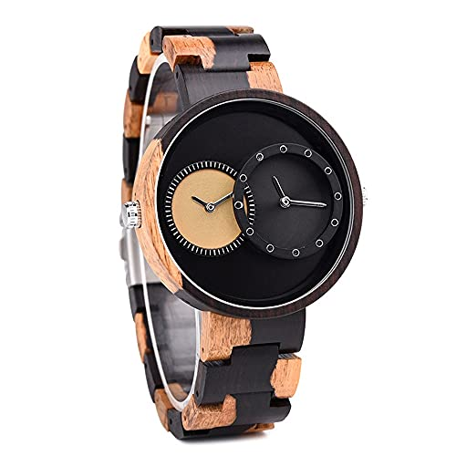 yuyan Movimiento Dual de Reloj de Madera GMT DIEO Grande DIAL Directo Saludable Reloj DE Mujeres Y Mujeres Relojes DE LOS Estudiantes