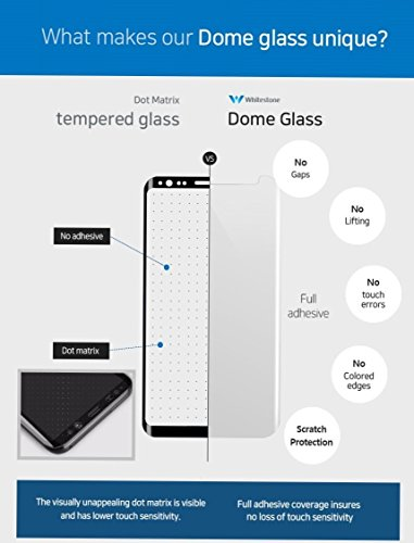 Dome Glass Galaxy S8 Plus Screen Protector Tempered Glass Shield, [Liquid Dispersion Tech] 3D Curved Full Coverage, Easy Install Kit and UV Light by Whitestone for Samsung Galaxy S8 Plus (2017)
