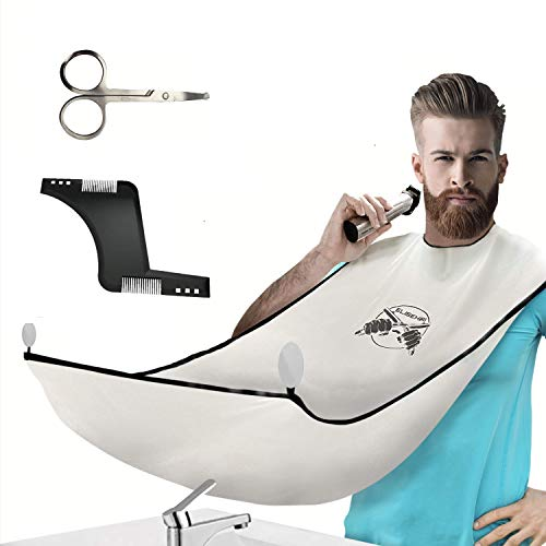 ELISEHIRI Beard Bib Beard Apron - for Men Beard Catcher with Hair Comb, Scissors and 4 Suction Cups Waterproof Beard Cape for Shaving, Trimming and Grooming for Husband and Dad!