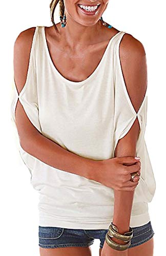 Camiseta Hombro Caido Mujer Manga Corta Blusa Cuello Barco Tshirt Casual Camisa Murcielego Sudadera Verano Larga Tunica Playa Talla Grande Basic Tees Bardot Top Liso Jersey Off Shoulder Pulover Sueter