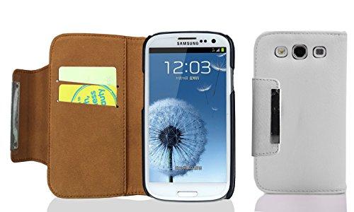 Cadorabo Custodia per Samsung Galaxy S3 / S3 Neo Custodia di Libro di Finta-Pelle Magnete A Sinistra in Bianco Marrone – con Vani di Carte