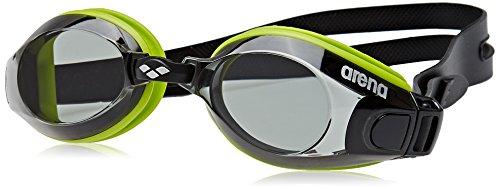 arena Unisex Training Freizeit Schwimmbrille Zoom X-Fit (UV-Schutz, Anti-Fog Beschichtung, Harte Gläser), Green-Smoke-Black (56), One Size