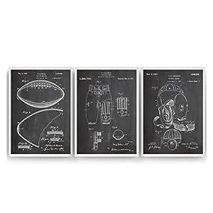 American Football Set Of 3 Patent Posters – Giclee Print Art Kunst Wall Dekor Decor Entwurf Wandkunst Blueprint Geschenk…