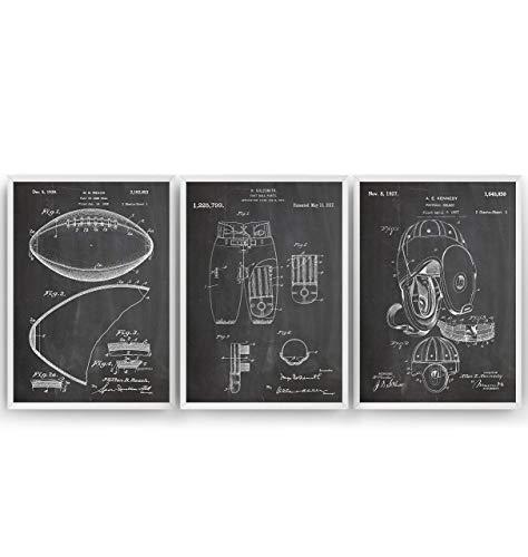 American Football Set Of 3 Patent Posters - Giclee Print Art Kunst Wall Dekor Decor Entwurf Wandkunst Blueprint Geschenk Gift - Frame Not Included