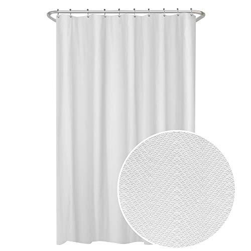 Zenna Home Duschvorhang, Fischgrätenmuster, wasserdicht, 177,8 x 182,9 cm, Weiß