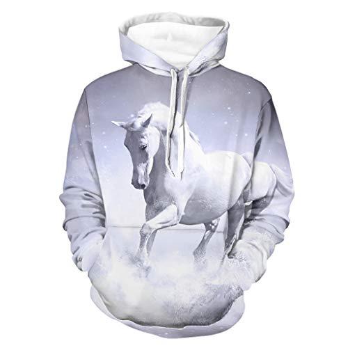 Shinelly Divertida sudadera con capucha para hombre con estampado de caballo blanco, de manga larga, con bolsillos, ropa cotidiana Negro XXXXL