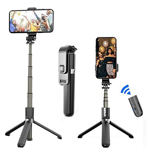 funnyfeng Selfie Stick trípode ajustable 360 ° giratorio inalámbrico Bluetooth mando a distancia Selfie Stick para la transmisión en directo de fotos