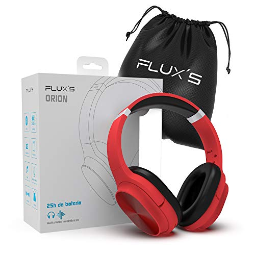 Auriculares Bluetooth de Diadema Flux'S, Cascos Bluetooth 5.0 Inalámbricos, Alta fidelidad, Plegables, Micrófono Incorporado, Micro SD y Radio FM, para iPhone/Android/Samsung/Tablet/TV (Rojo)