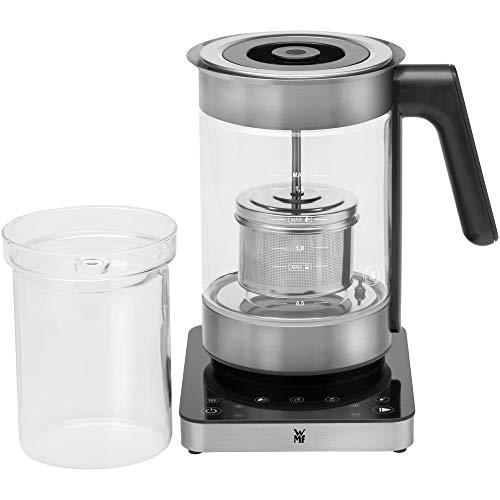 WMF Hervidor Multifuncional Hervidor eléctrico para té, 3000 W y 1.6 l de capacidad, jarra de cristal, acabados de acero inoxidable de cromargan mate, placa táctil, temperatura ajustable, accesorio té