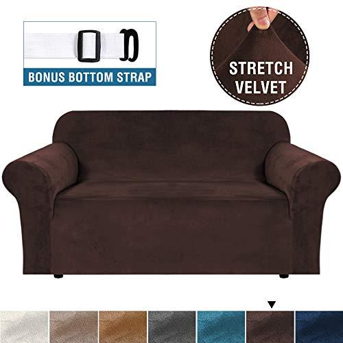 BellaHills Echte Samt Couchbezug für Sofa Schonbezüge Samt Plüsch Möbelbezug Ultra Stretch Sofabezüge Möbelschutz mit elastischem Boden (2-Sitzer, braun)