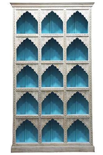 Regal aus Mango Massiv Holz Haytham Vintage Blau 224cm hoch für Diele oder Schlafzimmer | Blaues...