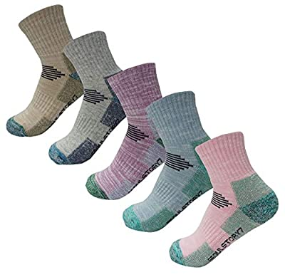 SEOULSTORY7 5Pack Women's Mid Cushion Low Cut Hiking/Camping/Performance Socks Small 5Pack Color Assortment