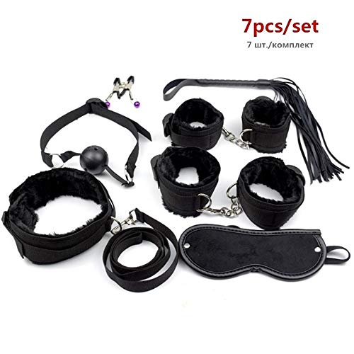 Seks Handboeien tepelklemmen Whip Mouth Gag Mask Plug Vibrator BDSM Set Erotic Sex Toys for erotisch spel ZHQHYQHHX (Color : 7pcs Black, Size : Free)