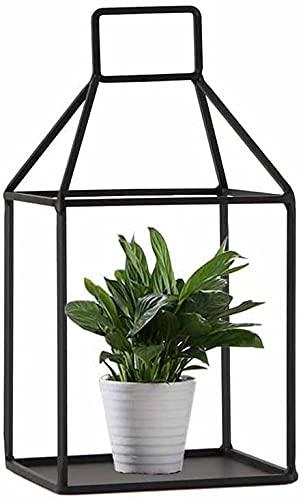 Puesto de flores Soporte de flor pequeña simple Decoración geométrica de escritorio Estante de exhibición Metal interior Maceta de macetas Potes Planta Rack Salón Balcón Creatividad (Color: Negro) 001