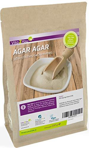 Agar Agar 200g - Geliermittel - Glutenfrei - EU Anbau - veganes Agar Pulver in Lebensmittelqualität - pflanzliche Gelatine - Premium Qualität