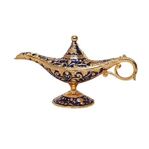 Garneck Decoración de La Lámpara de Aladdin Vintage Estilo Europeo Mesa de Tetera Adorno de La Lámpara Mágica para La Decoración del Escritorio del Hogar de La Oficina (Azul)