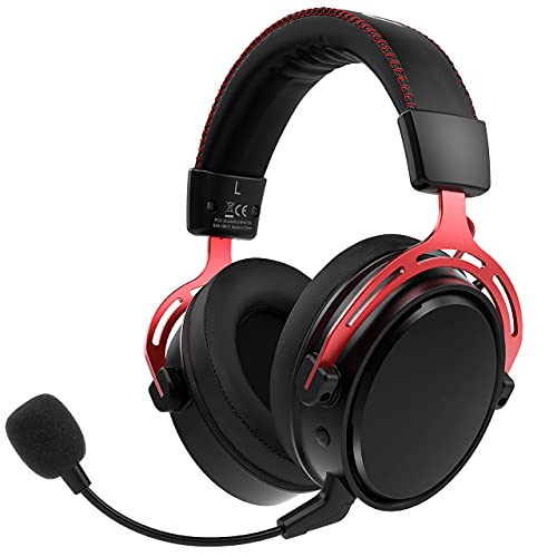 2.4G Wireless Gaming Headset for PS5/PS4/PC Headset with Dual Chamber Driver, Up to 17 Hours of Use (Wired Optional), Noise Cancelling Mic, 3D Bass, Ultra Light Over-Ear Gaming Headphones for Switch