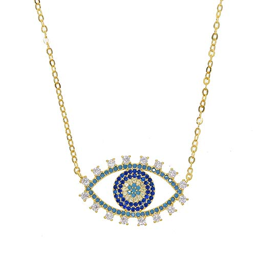 SWAOOS Colgantes De Gargantilla De Moda Collar De Color Dorado Collar De Mal De Ojo Azul Pave Cz para Mujeres Fuerza De Protección Collares Entéricos
