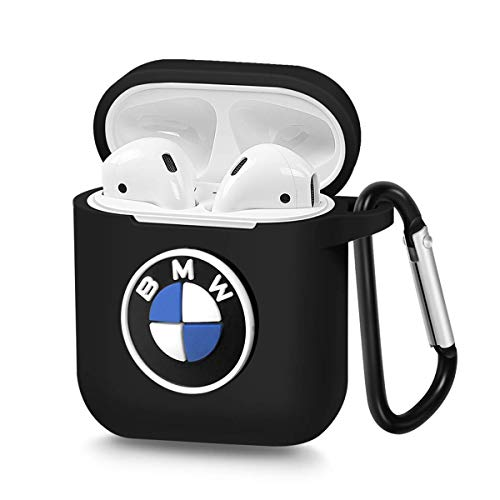 Pocoolo Airpods Case Airpods Accessories Protective Silicone Cover and Skin with Carabiner for Apple Airpods Charging Case (BWM)