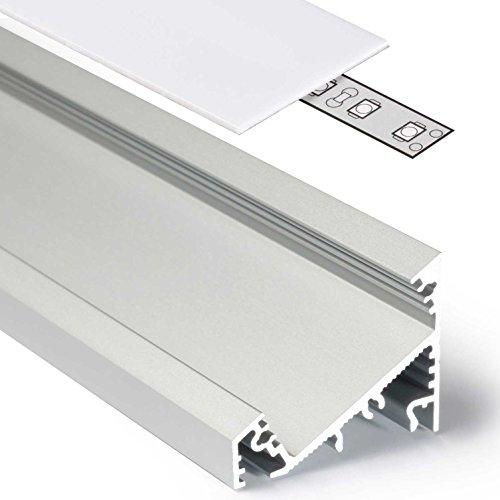 2m Aluprofil CORNER27 (CO27) Ecke 2 Meter Aluminium Eckprofil-Leiste eloxiert für LED Streifen - Set inkl Abdeckung-Schiene milchig-weiß opal mit Montage-Klammern und Endkappen (2 Meter milchig slide)