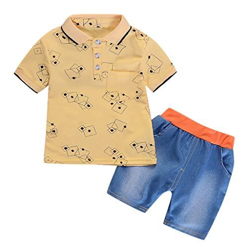 JERFER Infant Baby Girl Gentleman Geometric Shirt Print Denim Shorts 2PC Set Outfits