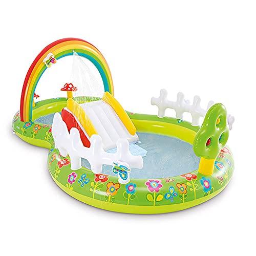 LGLE Centro de Juegos Acuático Hinchable, Centro de Juegos Hinchable Blow Up para Niños, Piscina para Interior y Exterior,290×180×104 CM,