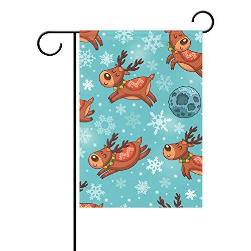 Bandera de jardín Leisue para decoración del hogar al aire libre, doble copo de nieve de poliéster, ideal para fiestas de patio de césped con coloridos patrones personalizados, 30 x 45 cm